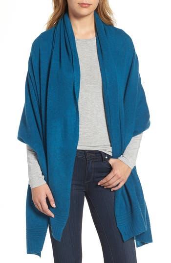 Women's Halogen Ottoman Rib Cashmere Wrap, Size One Size - Blue