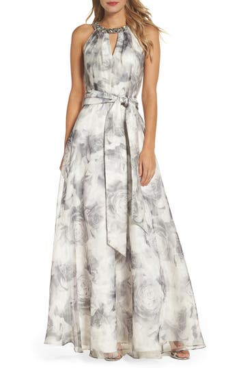 Eliza J Beaded Ballgown, Grey
