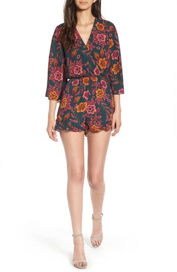 Women's Everly Floral Print Romper, Size Small - Green