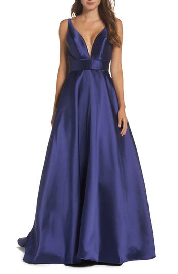 Ieena For MAC Duggal Plunging Sweetheart Neck Ballgown, Blue