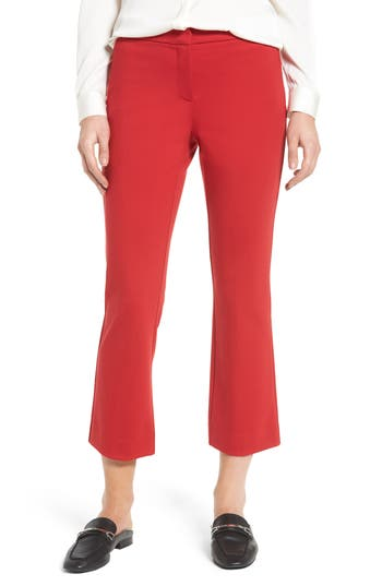 Halogen Kick Flare Knit Ankle Pants, Red