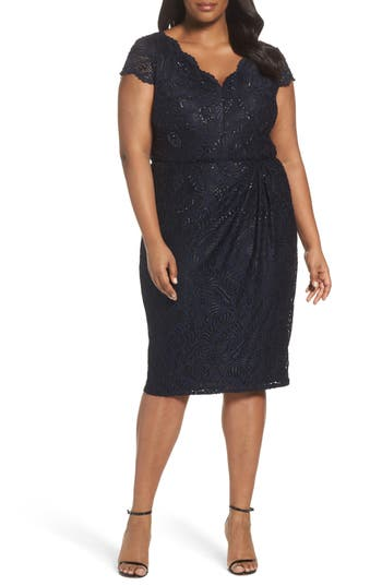 Plus Size Adrianna Papell Embellished Stretch Lace Sheath Dress, Blue
