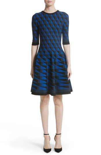 Oscar De La Renta Graphic Compact Knit Fit & Flare Dress, Blue