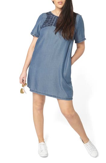 Plus Size Evans Embroidered Chambray Tunic Dress, 8W US / 22 UK - Blue