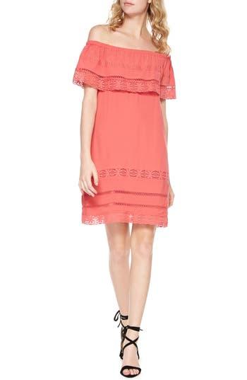 Sanctuary Lacey Drape Bodice Off The Shoulder Dress, Coral
