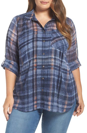 Plus Size Two By Vince Camuto Plaid Georgette Shirt, Blue