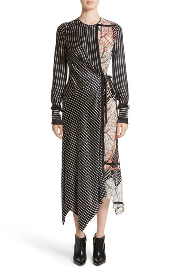 Yigal Azrouel Fringe Trim Asymmetrical Stripe Silk Dress, Black