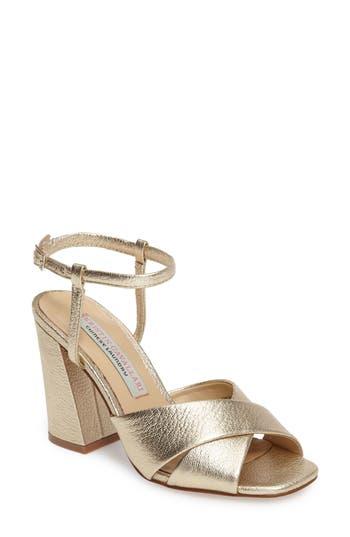 Kristin Cavallari Low Light Cross Strap Sandal, Metallic
