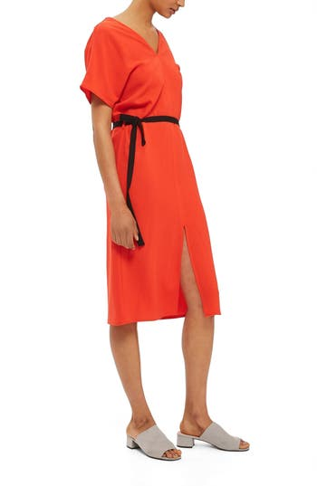 Topshop Belted Midi Dress, US (fits like 0) - Red