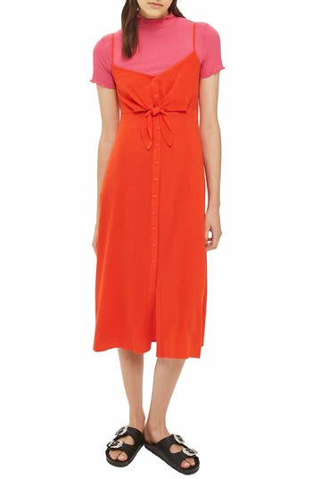 Topshop Knot Front Slipdress, US (fits like 6-8) - Red