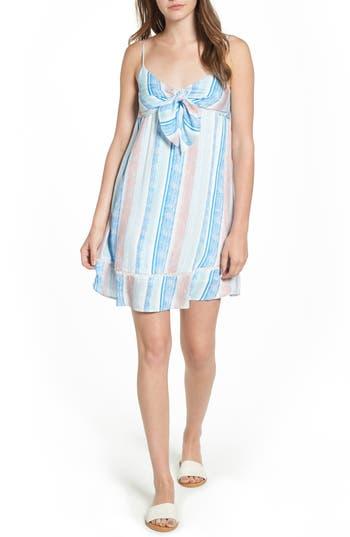 Lush Tie Front Babydoll Dress, Blue
