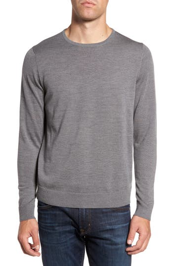 Big & Tall Nordstrom Shop Crewneck Merino Wool Sweater, Grey