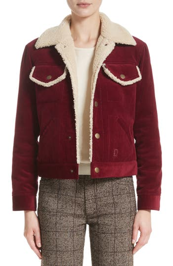Women's Marc Jacobs Crop Corduroy Jacket With Faux Shearling Trim, Size X-Small - Burgundy