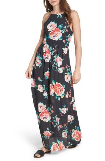 Everly Floral High Neck Maxi Dress, Black