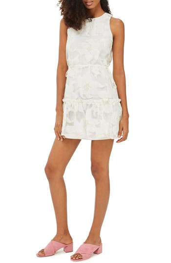 Topshop Metallic Floral Shift Dress, US (fits like 10-12) - Ivory