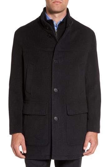 Men's Cole Haan Wool Blend Top Coat With Inset Bib
