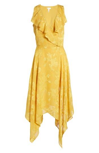 Leith Handkerchief Hem Faux-Wrap Midi Dress, Yellow