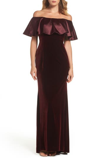 Adrianna Papell Ruffle Off The Shoulder Velvet Gown, Red