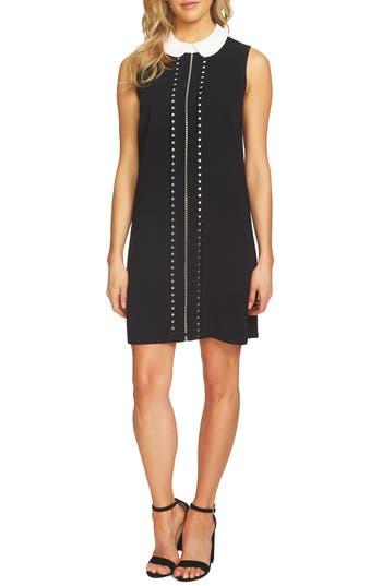 Cece Embroidered Front Shift Dress, Black