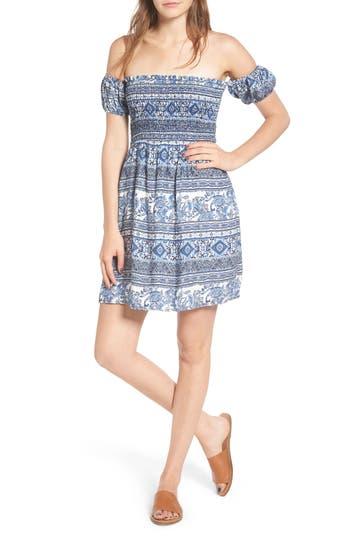 Everly Print Off The Shoulder Dress, Blue