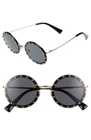 Women's Valentino 52Mm Crystal Embellished Round Sunglasses - Gold/ Grey