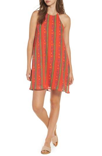 Everly Stripe High Neck Swing Dress, Red