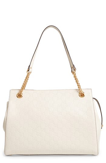 Gucci Large Signature Leather Shoulder Bag - White