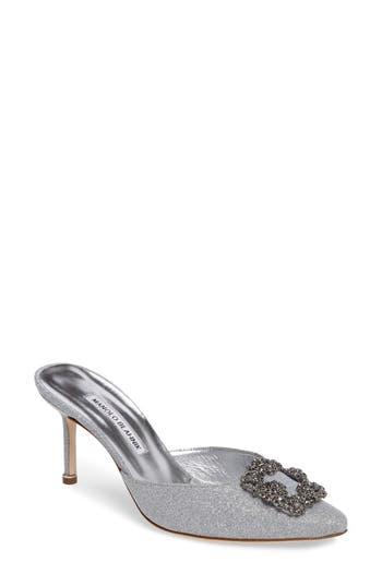 Manolo Blahnik Hangisi Jeweled Mule, Metallic