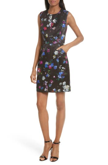 Women's Milly Coco Painted Floral A-Line Dress, Size 0 - Black