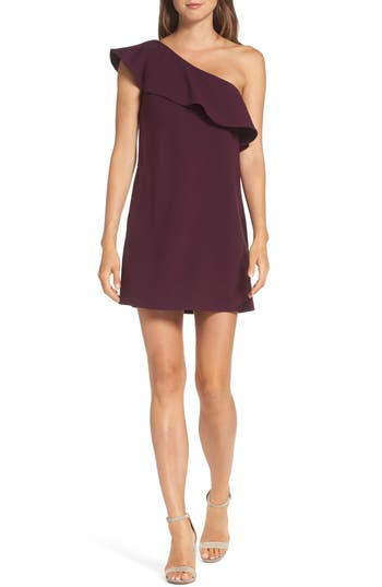 French Connection Ruffle One-Shoulder Dress, Purple