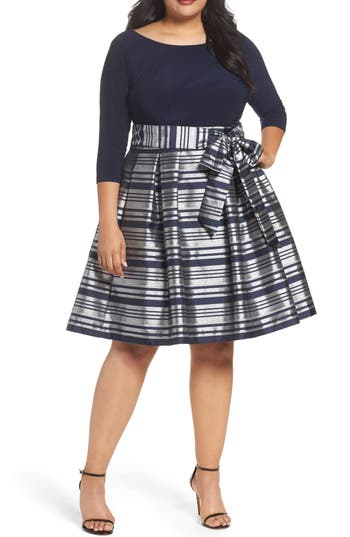 Plus Size Eliza J Mixed Media Tie Waist Party Dress, Metallic
