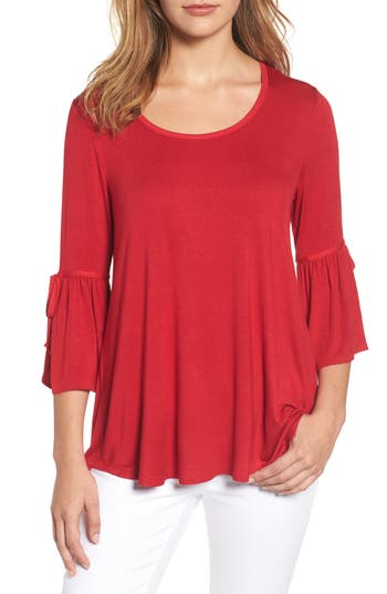 Women's Bobeau Bell Sleeve Tee, Size Small - Red
