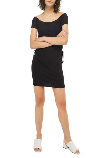 Topshop Lace-Up Side Body-Con Dress, US (fits like 6-8) - Black