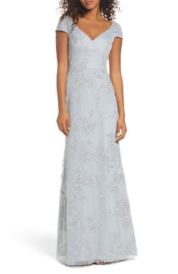 Hayley Paige Occasions Beaded Trumpet Gown, Grey