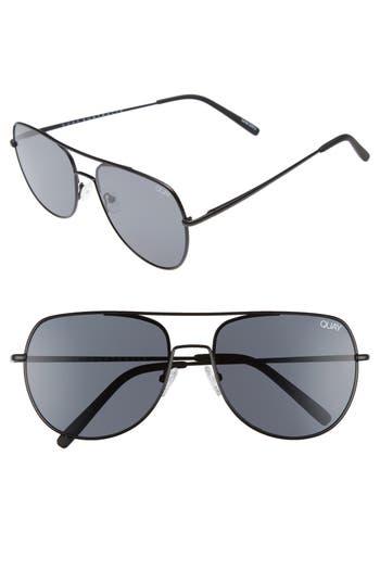 Quay Australia Living Large 61Mm Aviator Sunglasses - Black/ Smoke