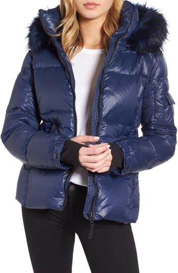 S13/nyc Kylie Faux Fur Trim Gloss Puffer Jacket, Blue