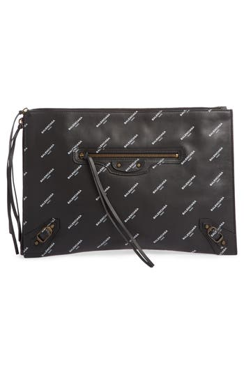 Balenciaga Classic Leather Pouch - Black at NORDSTROM.com
