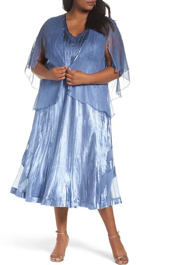 Plus Size Komarov Tea-Length Dress With Capelet, Blue