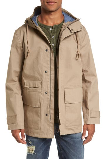 French Connection Regular Fit Hooded Rain Jacket, Beige