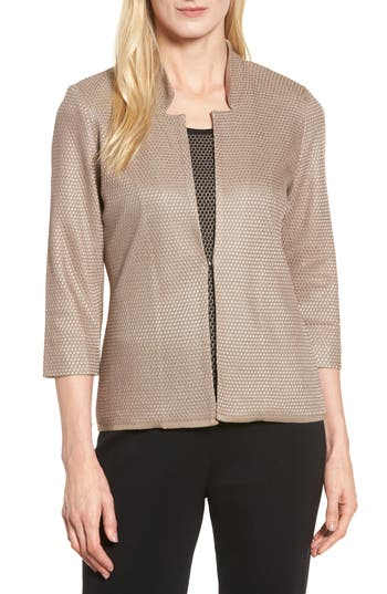 Ming Wang Textured Knit Jacket, Beige