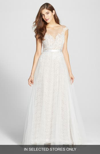 Watters Farah Tulle, Lace & Charmeuse Gown