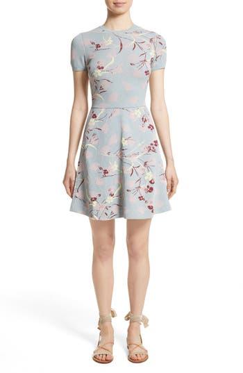 Valentino Floral Jacquard Knit Dress, Blue