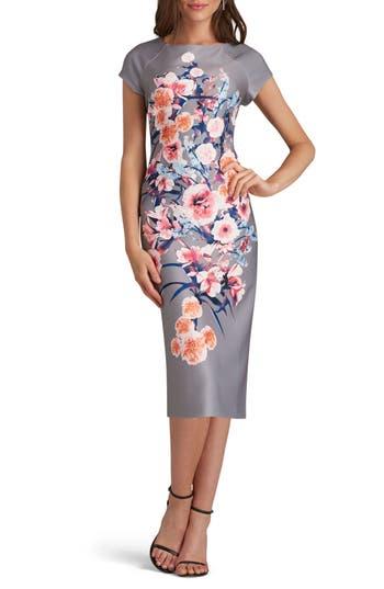Eci Print Scuba Sheath Dress, Grey