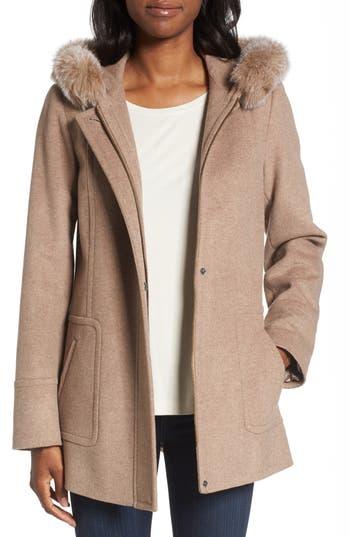 Women's Sachi Hooded Wool Blend Coat With Genuine Fox Fur Trim, Size Medium - Beige