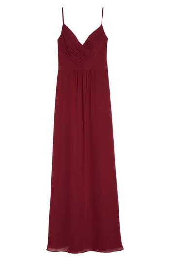 Hayley Paige Occasions Gathered V-Neck Chiffon Gown, Red