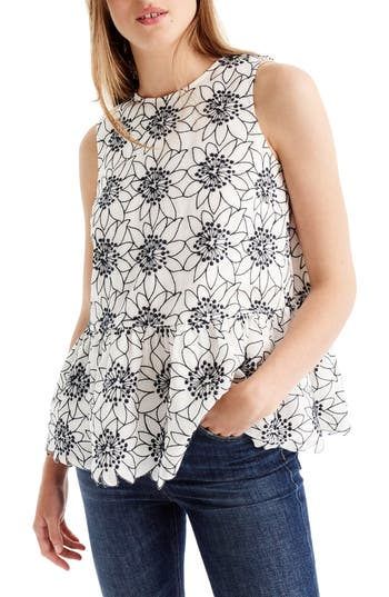 Women's J.crew Embroidered Floral Top, Size XX-Small - Ivory