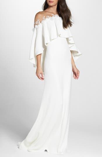 Tadashi Shoji Off The Shoulder Popover Gown, Ivory