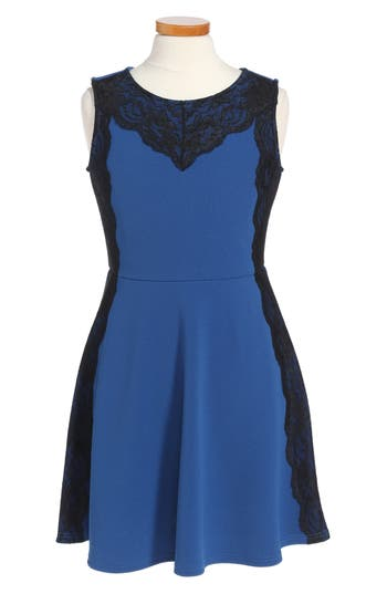 Girl's Blush By Us Angels Lace Trim Pique Dress, Size 7 - Blue