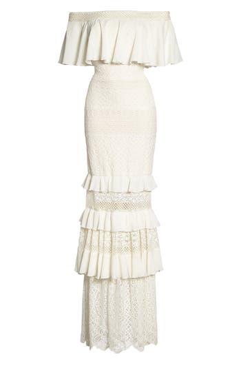 Tadashi Shoji Off The Shoulder Crochet Gown, Ivory