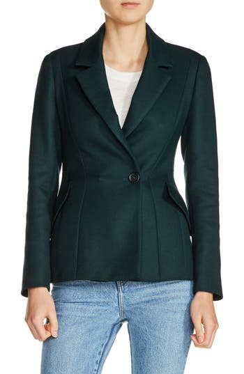 Women's Maje Fitted Blazer, Size 36 - Green